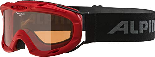 Alpina Kinder Skibrille Ruby S, Rahmenfarbe: rot, Linsenfarbe: Slh S1, One size, A7050451