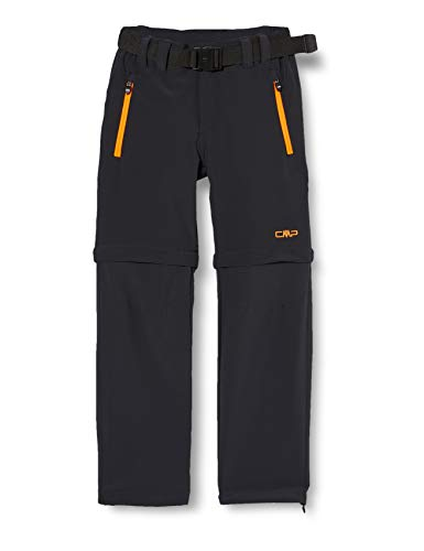 CMP Jungen Zip Off Dry Function Trousers Hose, Anthracite-Flash Orange, 176