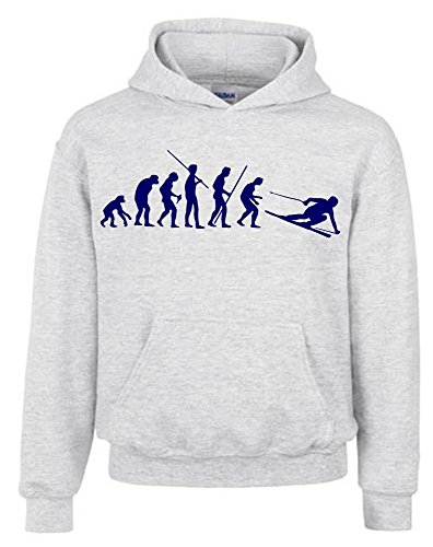 Coole-Fun-T-Shirts SKI Evolution Kinder Sweatshirt mit Kapuze Hoodie grau-Navy, Gr.128cm