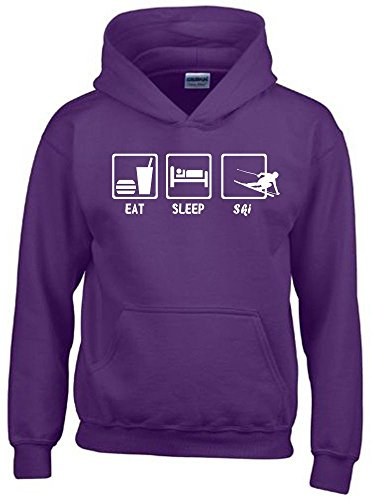 Coole-Fun-T-Shirts EAT Sleep SKI Kinder Sweatshirt mit Kapuze Hoodie lila-Weiss, Gr.164cm