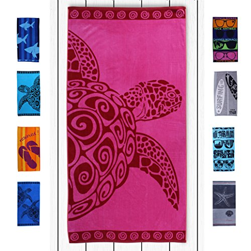 DecoKing Strandtuch groß 90x180 cm Baumwolle Frottee Velours Badetuch Fuchsia rosa rot Pink Turtle